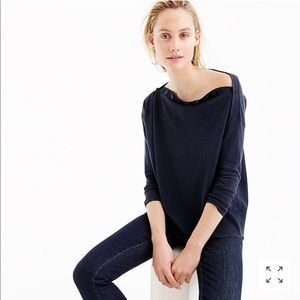 J. Crew Button Boatneck Top in Red
